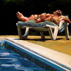 "Daily Paintworks - ""Pool Man"" - Original Fine Art for Sale - © Karin Jurick"