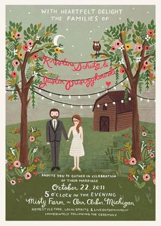 Illustrated wedding invitation by Rifle Paper Co for a wedding in Michigan at Misty Farm. Planning and Design: VLD Events | Photography: Jill DeVries