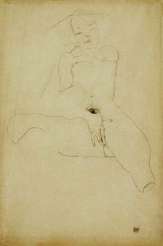 Egon Schiele. Seated Female Nude 1911