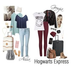 """""""Hogwarts Express"""" by dr-hopepotterwho on Polyvore featuring Pamela Love, Rich & Skinny, Pacsafe, H&M, Replay, Delsey, Frame Denim, Ancient Greek Sandals, Herschel and Kate Spade"""