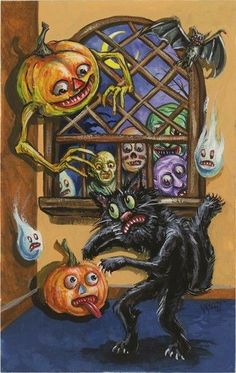 Vintage Halloween postcard ~ a certain scaredy cat is NOT having a Happy Halloween!  Great graphics!