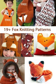 Fox Knitting Patterns, many free knitting patterns for hats, scarves, pillows, dress, more at http://intheloopknitting.com/free-fox-knitting-patterns/
