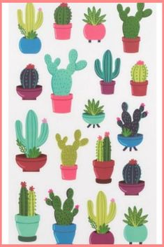 Bright cactus doodle stickers for your bullet journals, planners, paper crafts, and scrapbook projects! Journal Stickers, Planner Stickers, Cactus Doodle, Cactus Drawing, Cactus Stickers, Scribble Art, Cactus Flower, Flower Pots, Personalized Stationery