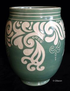 CBacon Pottery:  Clef and Arabesque Vase