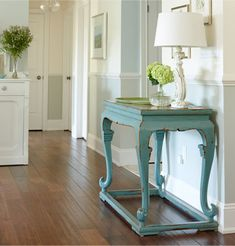 Advice from Sarah Richardson - HALLWAY  LANDING: Have fun with subtle shade variations and change up your colors to help define distinct areas in your home. Even in an open hallway, you can transition from one color to another wherever you have a corner. Make sure you use an angled sash brush to get the sharpest cut line possible!