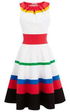b8b68f315119 White Red Sleeveless Striped A Line Dress pictures Pink And White Dress