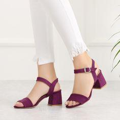Arjenin Süet Mor Kısa Topuk Kadın Sandalet #purple #sandals #heels #suede Purple Sandals, Heeled Mules, Jumpsuits, Footwear, Shoes, Dresses, Fashion, Nude Heels, Cute Flats