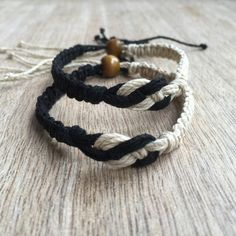 His and her Bracelet Couple Hemp Bracelet Couples by Fanfarria