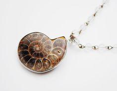 Ammonite pendant Necklace - polished quartz bead - Handmade Necklace #necklace