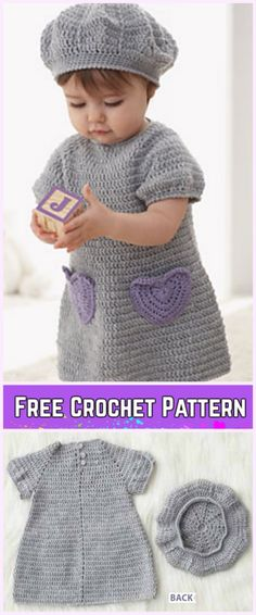 I Heart My Dress Set& Beret Hat Set Crochet Free Patterns