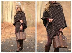 Buckle Up: Ralph Lauren plaid buckle poncho, Brahmin tortoise seville snakeskin Duxbury satchel, burgundy leather pants, Frye Mustang riding boots, fall poncho outfit, brown and burgundy