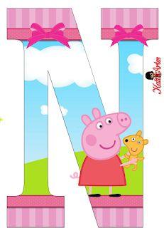 Alphabet Peppa Pig in the Field with Puppy. - Oh my Alfabetos! Bolo Da Peppa Pig, Peppa Pig Teddy, Cumple Peppa Pig, Diy Birthday, Birthday Party Decorations, Peppa Big, Scrapbook Images, Free Birthday Invitations, Pig Party
