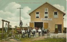 "Fire House Bergenfield NJ 5"" x 7"" Matted Print of 1910 Postcard 