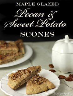 Cinnamon Pecan and Sweet Potato Scones with Maple Glaze. The flavors of fall in a decadent breakfast scone.