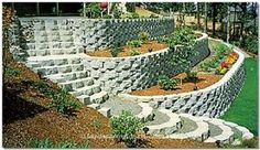 Our Favorite Retaining Wall Step Designlandscaping Ideas, Awesome Garden Design Sloping Block Retaining Wall Steps, Backyard Retaining Walls, Sloped Backyard, Sloped Garden, Landscaping On A Hill, Outdoor Landscaping, Landscaping Ideas, Steep Hillside Landscaping, Hillside Garden
