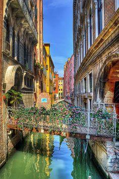 Flowered Bridge over a Narrow Canal, Venice