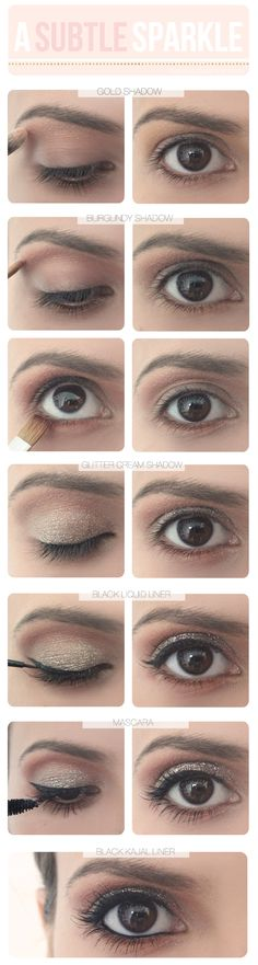 TBD an eye for glitter (TOOLS: gold + burgundy powder eye shadows, glitter cream shadow, black liquid liner, your favorite mascara, black kajal liner, a crease brush, a medium flat-head brush)