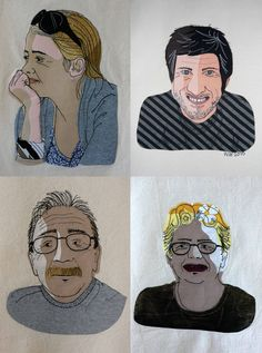 Some of my textile portraits. Art Lessons, Illustration Sketches, Sketches, Embroidered Portrait, Textile Design, Art, Portrait, Embroidery Inspiration, Prints