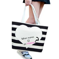 934ad033b8 Summer Striped Beach Canvas Shoulder Bag Women 2017 Fashion Large Heart  Casual Tote Female Handbag Shopping