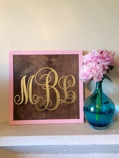 Monogram gold wood sign / framed wood sign / wooden sign / girl's room decor by LifeLessOrdinaryShop on Etsy https://www.etsy.com/listing/449545710/monogram-gold-wood-sign-framed-wood-sign