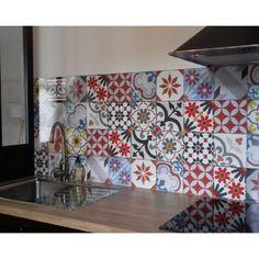 Credence a coller pour cuisine carreaux ciment patchwork - Credence cuisine en carreaux de ciment ...
