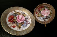 AYNSLEY-ENGLAND-HANDPAINTED  CUP and SAUCER with PINK ROSEs and GOLD    eBay