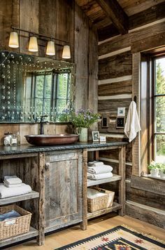 One couple builds a Montana cabin in the solitude of the mountains. Source by MtnModernLife The post One couple builds a Montana cabin in the solitude of the mountains. appeared first on Rosa Home Decor. Rustic Bathroom Designs, Rustic Bathroom Decor, Rustic Bathrooms, Bathroom Ideas, Log Cabin Bathrooms, Wood Bathroom, Bathroom Faucets, Outhouse Bathroom, Garage Bathroom