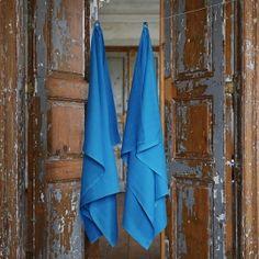 Drap de bain ou serviette de douche en lin lavé Lara Turquoise 7a826b307fdd
