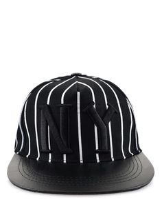 (IHC14-BLACK) Unisex Casual Embroidery Logo Patched Stripe Adjustable Snapback Cap