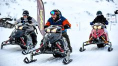 Switzerland- Bert, Adam and Leanne race each around Mount Titlis on snowmobiles.