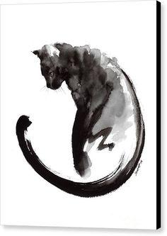 Black Cat Canvas Print featuring the painting Black Cat by Mariusz Szmerdt