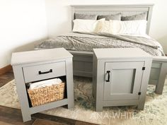 This stunning (and extra sturdy!) Farmhouse King Bed frame costs just a fraction to build vs buy. It's made of solid wood and you won't need a ton of tools to whip it out. You'll love the step by step diagrams, shopping list and cut list. #anawhite #anawhiteplans #diy #diyfurniture #farmhouse #farmhousebed #diybed #homedecor Full Bedroom Furniture Sets, Diy Furniture, Kitchen Furniture, Furniture Design, Country Furniture, Farmhouse Furniture, Farmhouse Decor, King Farmhouse Bed, White Farmhouse