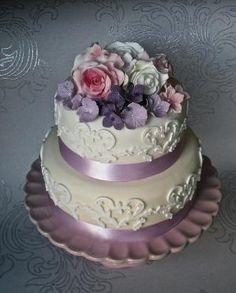 Púrpura, rosa y marfil pastel de bodas ramo!  LINDO por ark.perezgomez