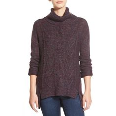 Junior BP. Marl Cable Knit Turtleneck ($58) ❤ liked on Polyvore featuring tops, sweaters, purple nectar theo marl, cable sweater, acrylic sweater, long sleeve tops, cross sweater and purple sweater
