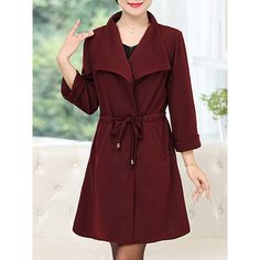 Autumn Spring Cotton Blend Lapel Drawstring Plain Long Sleeve Trench... (70 AUD) ❤ liked on Polyvore featuring outerwear, coats, long lapel coat, drawstring trench coat, drawstring coat, red trench coat and long coat