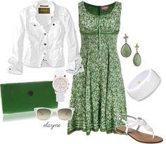 """Green & White Floral Print Dress"" by elayne-forgie on Polyvore"