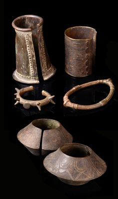 Burkina Faso | Collection of anklet and bracelet manillas | Brass | 200€ for the lot ~ sold (Mar '14)