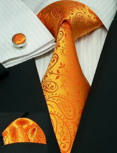 #MensTies:Bacrelli Orange paisley 100% Silk Tie