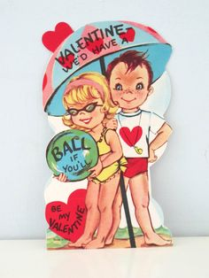 Vintage Valentine Unused and Unsigned Beach Ball Couple by vintagebeachkids on Etsy https://www.etsy.com/listing/265498818/vintage-valentine-unused-and-unsigned