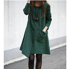 Mujeres sueltan abierto Tenedor Tallas grandes vestidos de Midi – USD $ 16.09