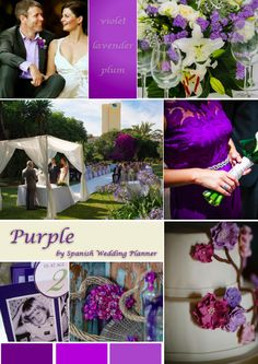 Purple. Wedding flowers. Wedding Cake. Plum decorations. Outside wedding. Violet. Lavender.   Wedding mood board.  Contact Spanish Wedding Planner to have a perfect Wedding in Spain!