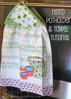 Supplies:  1 Hand Towel {featured: Family Recipe  Towels by Moda Home}  1 Pot Holder {featured: Family Recipe  Pot Holder...