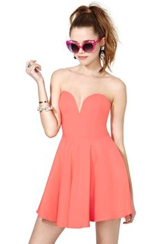 Nasty Gal Sweetheart Skater Dress - Coral