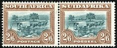 """Union of South Africa 1927 Scott 30 (SG brown & blue green """"Trekking"""" Engraved; No Hyphen Union Of South Africa, West Africa, Vintage World Maps, Decorative Boxes, African, Himba People, Postage Stamps, Trekking, Blue Green"""