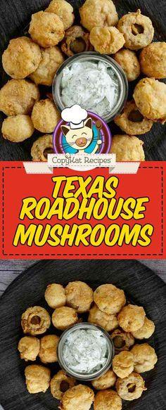 Copycat Logans Roadhouse Fried Mushrooms - - Copycat Logans Roadhouse Fried Mushrooms CopyKat Recipes Make the best fried mushrooms with this easy Logan's Roadhouse copycat recipe. The batter is what makes these deep fried mushrooms taste so good. Fried Mushroom Recipes, Veggie Recipes, Cooking Recipes, Mushrooms Recipes, Easy Cooking, Cooking Ideas, Chicken Recipes, Deep Fried Mushrooms, Stuffed Mushrooms