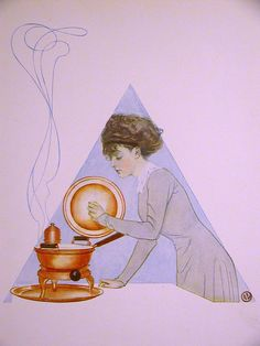 Coles Phillips GIRL COOKING a STEW in the KITCHEN 1911 Antique Art Print Matted #Vintage