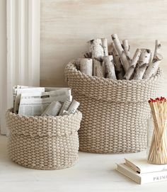 """Bold Baskets:     Consider these bold baskets a declaration that beige is anything but blah. Here's a surefire way to make everyday kindling a hot commodity: Stash it in these slouchy-but-sturdy cotton baskets.     Bright idea: Show off these long, lean matches in a vase—as a cold-weather alternative to flowers. ($2.98 for 50; lowes.com)     Robert Ogden for Lostine baskets, $82 for 12""""H, $176 for 20""""H; 215-825-7270."""