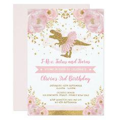 Cute Pink Gold Dinosaur Girl Birthday Invitation #Birthday #BirthdayInvitations #BirthdayInvites Girl Dinosaur Birthday, Dinosaur Birthday Invitations, Little Girl Birthday, 3rd Birthday, Birthday Ideas, Birthday Parties, Baby Shower Princess, Baby Shower Invites For Girl, Baby Shower Invitations