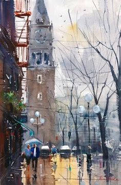 Ron Stocke Watercolor City, Watercolor Drawing, Watercolor Landscape, Painting & Drawing, Art Thomas, Watercolor Architecture, Street Painting, Watercolor Pictures, Color Pencil Art
