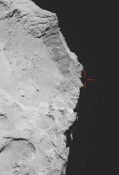 The Philae Lander against black space just off the comet's surface during the first bounce off Comet 67P/Churyumov–Gerasimenko. Image via ESA ESA/Rosetta/MPS for OSIRIS Team MPS/UPD/LAM/IAA/SSO/INTA/UPM/DASP/IDA.
